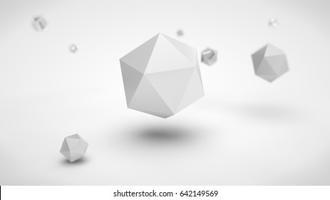 the image of the array of polyhedra in the space, with different depth of field, white in color, and one of the polyhedron gray in the center, on a white background. 3D rendering