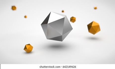 the image of the array of polyhedra in the space, with different depth of field of gold, and one of the polyhedron silver color in the center, on a white background. 3D rendering