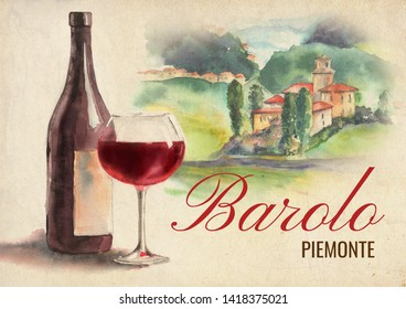 An image of barolo wine hand painted in watercolor for print production