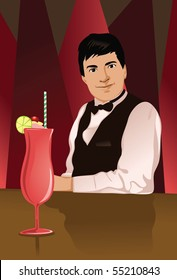 Image of a bartender who is servicing a drink.