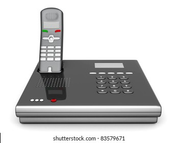 image of beautiful, silver phone on a white background