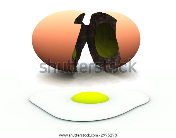 A image of a broken egg, this image could be used for images relating to Easter and food.