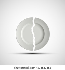 image of a broken white plate