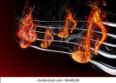 Image of burning music on a black background