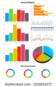 Image of business and report with graph chart and white background
