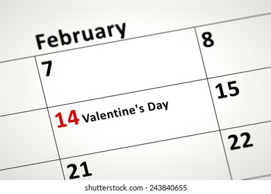 An image of a calendar detail shows february the 14th Valentines Day in german language