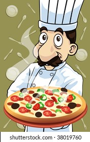 Image of the chef who is cooking delicious pizza