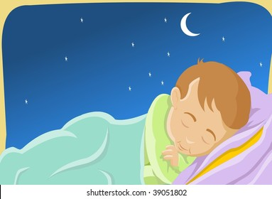 An image of a child sleeping peacefully in a bed while the moon and the stars shine brightly in the night sky
