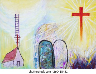 image of christian icon that show Jesus cross had has victory over the hell and the tomb, Jesus said he build his church and he is the way to heaven