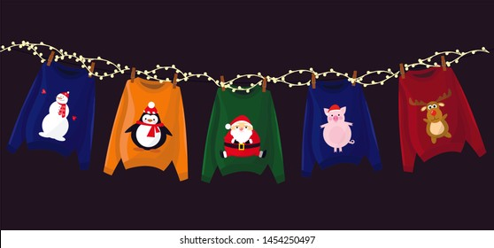 image of Christmas sweaters, garland