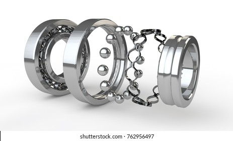 image chrome ball bearing closeup in the analysis. Bearing, part of the mechanism that hangs, its elements parallel. 3D rendering