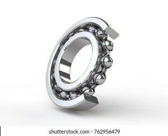 image chrome, shiny ball bearing closeup of the bearing angle. Bearing, mechanism part, an outer clip in the cut, you can see the elements, the balls, the separator. 3D rendering