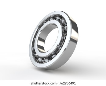 image chrome, shiny ball bearing closeup of the bearing angle. The idea of quality repair parts, parts for automobile and machinery. 3D rendering
