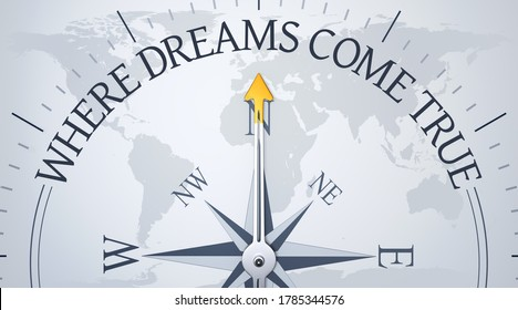 An image of a compass directing to where dreams come true 3d illustration
