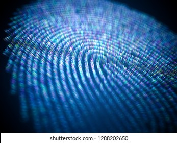 Image concept illustration of data and personal information in colored fingerprint. 3D illustration.
