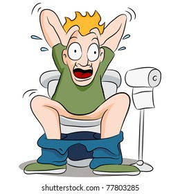 An image of a constipated man on a toilet.