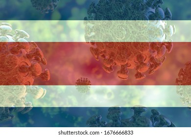 Image of the covid 19 coronavirus, with Costa Rica flag superimposed. Global pandemic, contagious disease.
