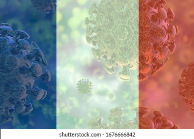 Image of the covid 19 coronavirus, with France flag superimposed. Global pandemic, contagious disease