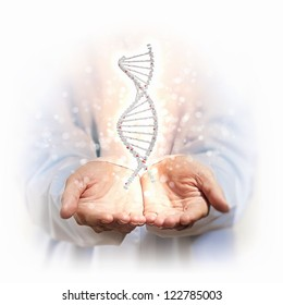 Image of DNA strand against background with human hands