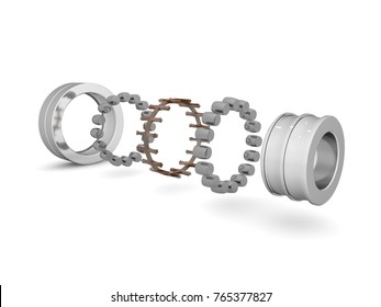 The image of the double-row roller bearing on a white background, closeup. The bearing is disassembled into elements. A graphic illustration of the bearing device. 3D rendering on white background