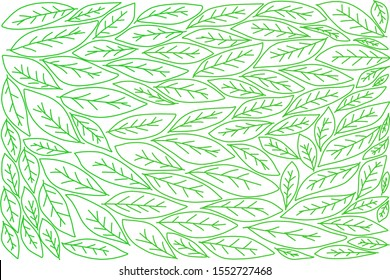 Image of draw leaves on white background