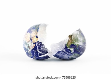 An image of the Earth as a broken egg split in two cracked halves.
