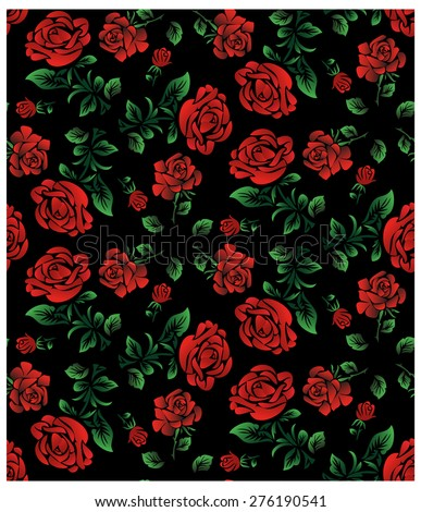Image Floral PatternWallpaper Or Textile Red Roses Isolated On Black BackgroundUkrainian
