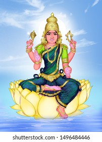 Image of four-armed Goddess Mitthira Devi seated on a yellow lotus. One hand shows abhaya mudra and another, varada mudra.