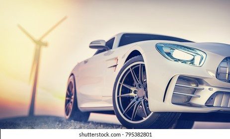 The image in front of the sports car scene behind as the sun going down with wind turbines in the back. 3d rendering and illustraion.