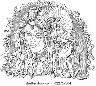 Image of a girl demon with horns and a Raven on his arm. Coloring book for adults. A creature of magic.