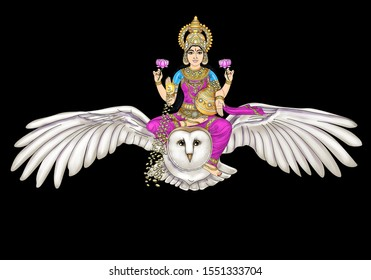 Image of Goddess Lakshmi seated on her mount, the owl