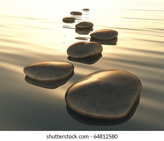 An image of golden light step stones