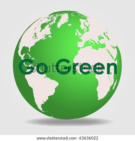 Image Green Globe Message Go Green Stock Illustration 63636022