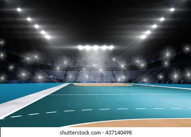 Image of handball field with spectators