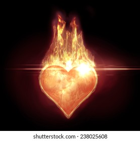 Image of a heart shape with a realistic fire and a lens flare