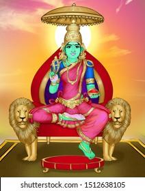 Image of Hindu goddess, Yoga Nidra devi, seated on her throne