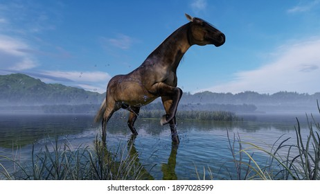 Image of a horse on the lake 3D illustration