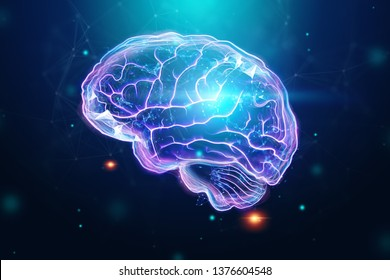 The image of the human brain, a hologram, a blue background. The concept of artificial intelligence, neural networks, robotization, machine learning. 3D illustration, copy space.
