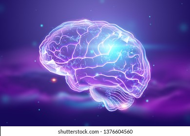 The image of the human brain, a hologram, a purple background. The concept of artificial intelligence, neural networks, robotization, machine learning. 3D illustration, copy space.
