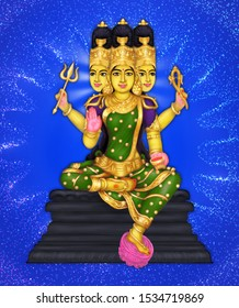 Image of Kaagini devi, a 3-headed Hindu goddess worshipped during Durga Pooja
