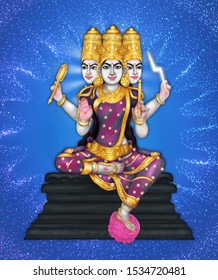 Image of Laagini devi, a 3-headed Hindu goddess worshipped during Navaratri