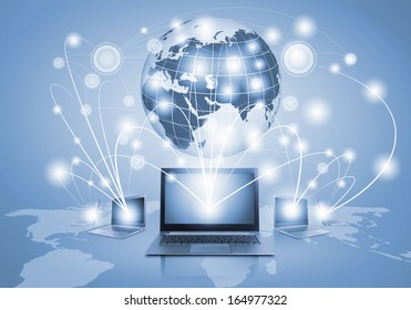 Image of laptop with globe illustration at background
