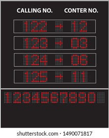 Image of led queue display with calling number and counter number