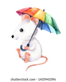 The image of a light white little lovely mouse with rainbow umbrella. Watercolor colorful illustration. Isolated object on white background. Hand-drawn picture.