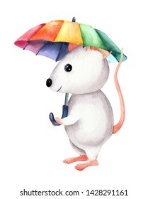 The image of a light white lovrly little mouse with rainbow umbrella. Watercolor colorful illustration. Isolated object on white background. Hand-drawn picture.