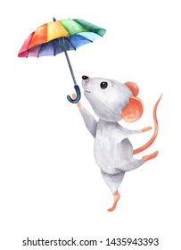 The image of a light white soaring dancing little mouse with rainbow umbrella. Watercolor colorful illustration. Isolated object on white background. Hand-drawn picture.