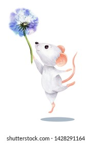The image of a light white soaring  mouse with flower of dandelion. Watercolor colorful illustration. Isolated object on white background. Hand-drawn picture.