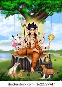 Image of Lord Dattatreya, a Hindu god