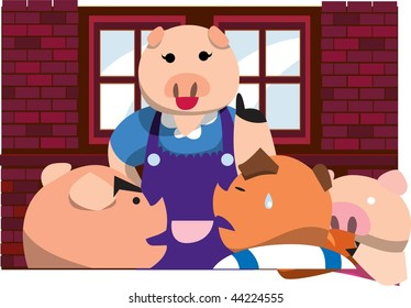 An image of a mama pig talking to her three little pigs, and one of the little pigs is shedding tears