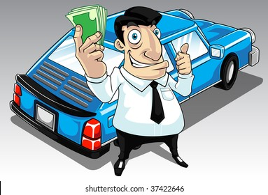 Image of a man who get approval for his car loan